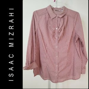 Isaac Mizrahi Woman Button Front Pinstripe Shirt